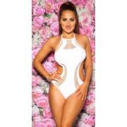 Cosmoda Collection Sexy nek-monokini met net & verwijderbare pads wit