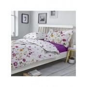 Lenjerie pentru pat matrimonial, Dormisete, Gardenia 02, renforce, imprimata, 220 x 250 cm, bumbac, Mov