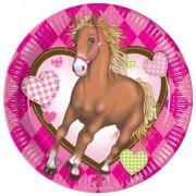 Lovas parti tányér - pink - 20 cm - 10 db