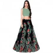 Latest New Designer Black Color Banglori Silk Satin Semi Stitched printed Lehenga Choli By Omstar Fashion (Lealfblack)