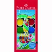 Acuarele 12 culori 30MM + Pensula Faber-Castell