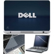 Finearts Laptop Skin Dell Blue Shadow With Screen Guard And Key Protector - Size 15.6 Inch