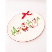 Platou oval ceramica Mos Craciun alb rosu