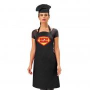 Bellatio Decorations Super mama keukenschort zwart dames met zwarte kokmuts - Feestschorten