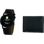 Crude Analog Watch-rg682 With Black Leather Wallet