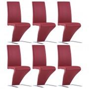 Scaune de bucătărie în zigzag, 6 buc., roșu, piele ecologică