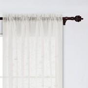 Deconovo Cortinas de Lino Semi sintético para Sala de Estar, 132 x 213 cm, diseño Floral, Color Beige