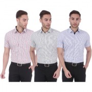 Dudlind Set of 3 Formal Checkered Half Sleeves Shirt for Men Red Green & Purple Colour | Combo of 3 Men's Shirts for Office and Business