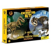 Geoworld Double Excavation Kit - T-Rex and Sabre Tooth Tiger skeleton by Geoworld