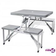 vidaXL Sklopivi set za kampiranje, 4 aluminijske stolice, svijetlo sivi