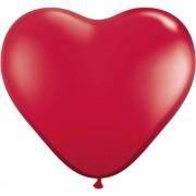 Baloane latex jumbo inima 3 ruby red, qualatex 44487, set 2 buc