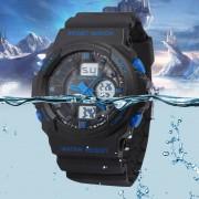 EW Tres hombres irrumpieron modelos electrónicos de pantalla dual relojes deportivos a prueba de choques impermeable del alpinismo de 241g azul oscuro-negro y azul