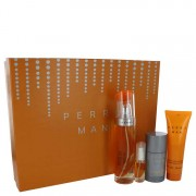 Perry Ellis Perry EDT Spray 3.4 oz + After Shave Gel 3 oz + Deodorant Stick 2.75 oz + Mini EDT Spray 0.25 oz Gift Set 502344