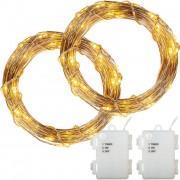 Sada 2 kusov svetelných drôtov - 100 LED, teplá biela