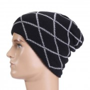 estilo hip-hop al aire libre patron de rayas de moda del sombrero del casquillo de punto - negro