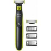Aparat hibrid de barbierit si tuns barba Philips OneBlade 3 piepteni 1 rezerva Negru-Verde