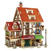 Amogha C : 3D DIY Wooden House Handcraft Toy, Mini Wooden Jigsaws Dolls' Houses Building Construction Toys (C)