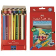 Creioane Colorate Acuarela 36 buc + Pensula Faber-Castell
