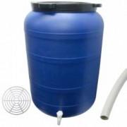 Pachet - Butoi 250L cu robinet Plastic alimentar Bidon cu capac prin infiletare + Presa rotunda pentru butoi 45cm + Teav