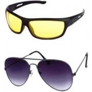 I KING Aviator, Wrap-around Sunglasses(Yellow, Black)