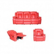 Set PIELE NATURALA Ackerley Rosu Canapea 3 locuri cu 2 reclinere manuale si fotolii cu recliner manual