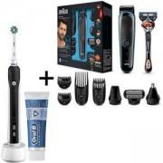 Комплект Тример Braun MGK3085 9 в 1 + самобръсначка Gillette + Електрическа четка за зъби Oral-B Pro 650 + паста за зъби