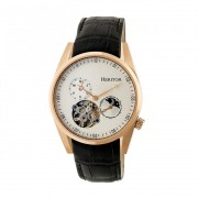 Heritor Automatic Alexander Semi-Skeleton Leather-Band Watch - Rose Gold/White HERHR4905