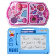 combo of Kids Drawing Writing Double Side Slate with Beauty accessories set (multicolor)