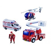 Emob Pretend Play Fire Rescue Station Play Set Toy for Kids with Light and Sound Effects