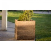 Pacific Royal Reclaimed Wood Square Planter Box: Large Brown