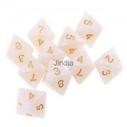 Alcoa Prime 10pcs 8 Sided Dice D8 Polyhedral Dice for Dungeons and Dragons New White