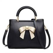 FOXER Bolsos de piel para mujer, bolso de hombro de cuero genuino con lazo de decoración para mujer monederos y bolsos, Negro (01 Black), Talla unica