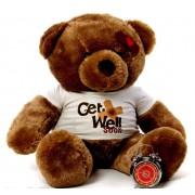 2 feet big brown teddy bear wearing a Get Well Soon T-shirt