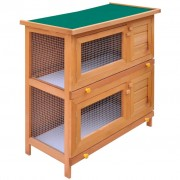vidaXL Outdoor Rabbit Hutch Small Animal House Pet Cage 4 Doors Wood