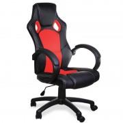 Sportowy Fotel Biurowy Kubełkowy Czerwony Ekoskóra
