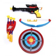 Wembley Toys Sports Super Archery Bow and Arrow Set for Kids with Dart Target Board, Colorful with 3 Suction Cup Tip Arrows (Crossbow-Set)