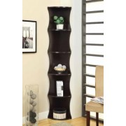 5 tier espresso finish wood corner curved ends bookshelf wall unit