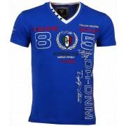 David Mello Italiaanse T-shirt - Korte Mouwen Heren - Borduur Automobile Club - Blauw
