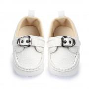 Pantofi piele moale albi 12-18 luni