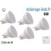 Lot de 5 ampoules led GU10 6W Blanc froid 500lm Dimmable 120° Ref Gu10-31