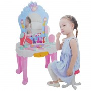 Masuta cu oglinda, scaunel + accesorii frumusete, lumina/muzica