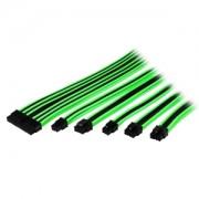 Set cabluri prelungitoare Thermaltake TtMod Sleeve Cable Kit, cleme incluse, 300mm, Black / Green