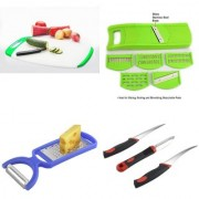 SRK Kitchen Tools Combo Curved Chopping Board + 6 in 1 Slicer+ 2 in 1 Peeler + 3 Pcs Knife Set