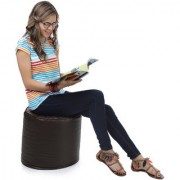 Home Story Round Ottoman L Size Brown With Beans