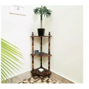 Mini Wooden corner rack side table home dcor carved end table furniture shelves