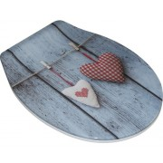 Capac WC form & style Heart din duroplast, inchidere lenta, albastru, 46,5x36,5 cm