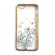 Силиконов гръб - кейс с прозрачен гръб с цветя за iPhone 6 / 6s (ЗЛАТИСТ КАНТ)