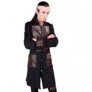 kabát pánský Aderlass - Steam Punk Coat Denim Black-Brown - A-7-06-501-07