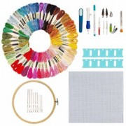 Aeoss Hand Embroidery Starter Kit 50 Premium Rainbow Color Embroidery Floss Craft Cross Stitch Threads Tool