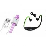Zemini Q7 Microphone and BS19C Bluetooth Headset for GIONEE MARATHON M5 MINI(Q7 Mic and Karoke with bluetooth speaker | BS19C Bluetooth Headset With Mic)